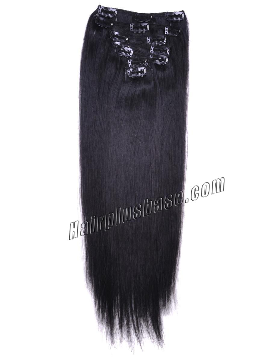 32 Inch #1 Jet Black Clip In Human Hair Extensions 11pcs no 1