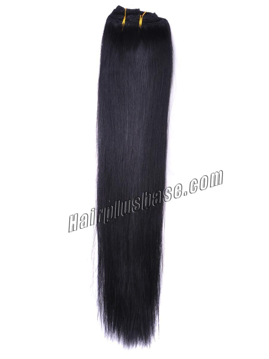 32 Inch #1 Jet Black Clip In Human Hair Extensions 11pcs no 2