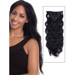 32 Inch #1 Jet Black Clip In Indian Remy Hair Extensions Body Wave 11 Pcs