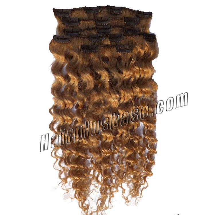 32 Inch #12 Golden Brown Clip In Hair Extensions Curly 7 Pieces Sets no 1