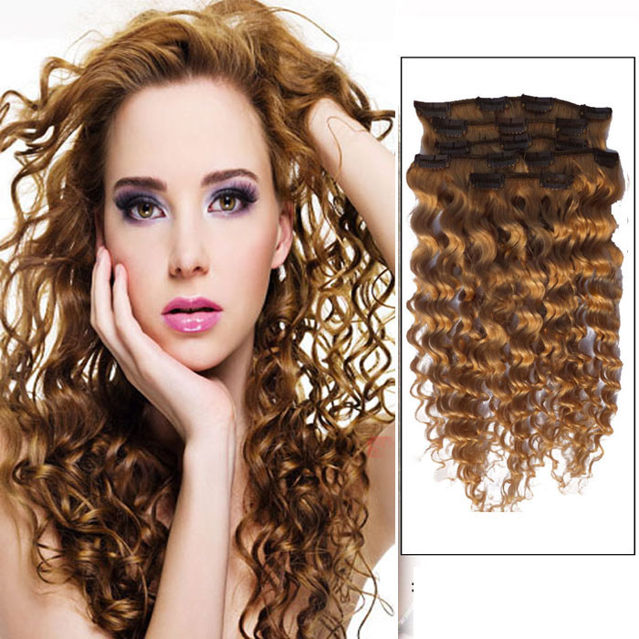 32 Inch #12 Golden Brown Clip In Hair Extensions Curly 7 Pieces Sets