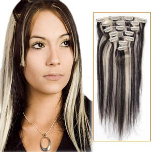 32 Inch #1b/613 Clip In Human Hair Extensions 11pcs