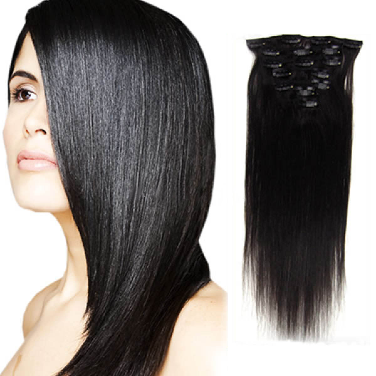 32 Inch #1b Natural Black Clip In Human Hair Extensions 11pcs