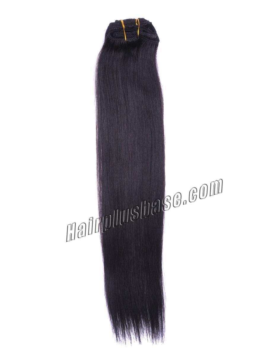 32 Inch #1b Natural Black Clip In Human Hair Extensions 8pcs no 1