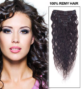 32 Inch #1B Natural Black Full Head Clip In Remy Hair Extensions French Wavy 11 Pcs