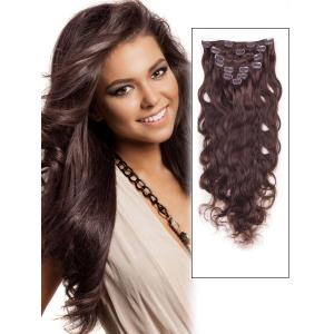 32 Inch (215g) #4 Medium Brown Clip In Indian Remy Human Hair Extensions Body Wave 11 Pcs