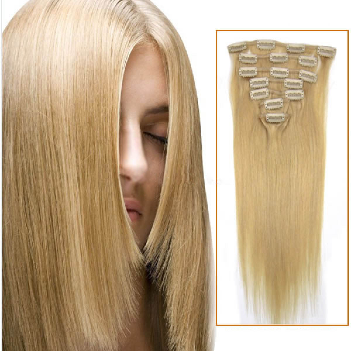 32 Inch 24 Ash Blonde Clip In Remy Human Hair Extensions 9pcs