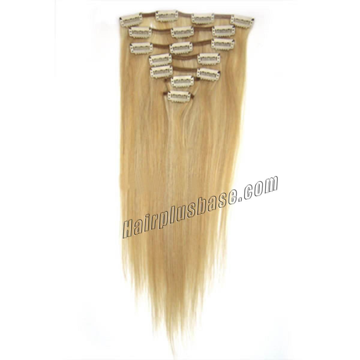 32 inch 27613 blonde highlight clip in human hair
