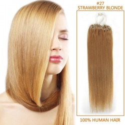 32 Inch #27 Strawberry Blonde Micro Loop Human Hair Extensions 100S 120g