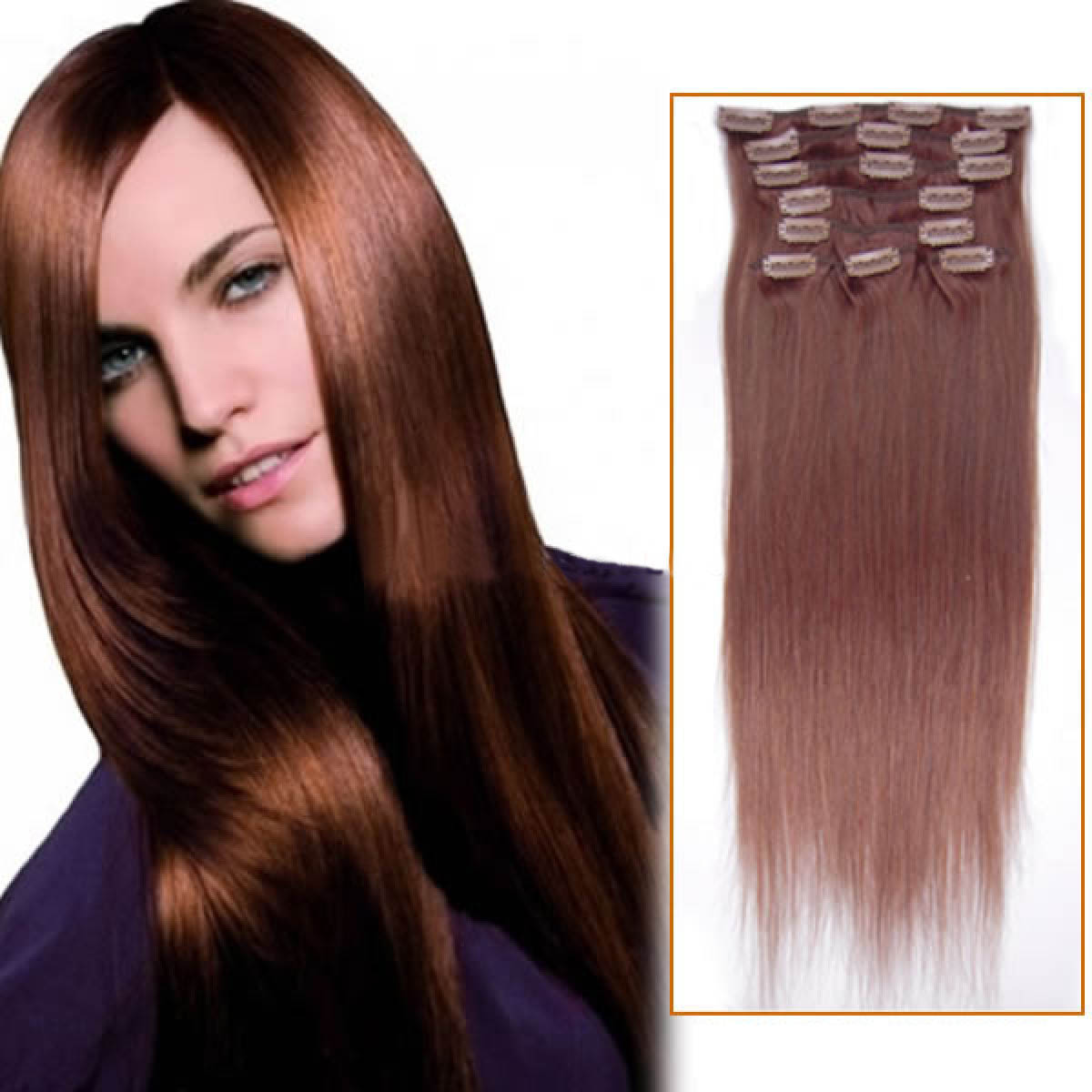 32 Inch 33 Dark Auburn Clip In Human Hair Extensions 11pcs