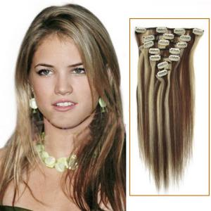 32 Inch #4/613 Clip In Remy Human Hair Extensions 7pcs