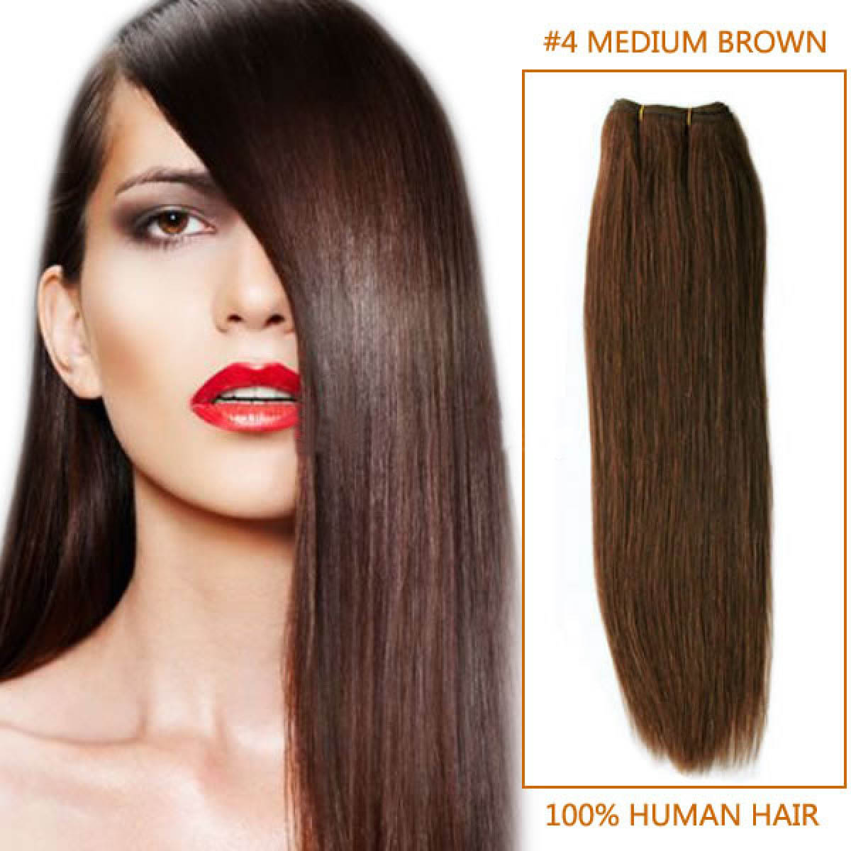 32 Inch 4 Medium Brown Straight Indian Remy Hair Wefts