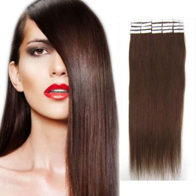 32 Inch #4 Medium Brown Tape In Human Hair Extensions 20pcs