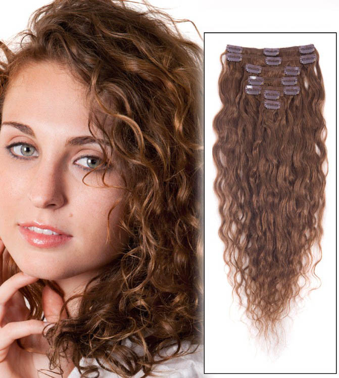 32 Inch #6 Light Brown Clip In Hair Extensions Loose Wavy 11 Pcs