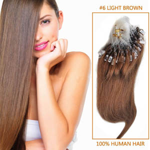 32 Inch #6 Light Brown Micro Loop Human Hair Extensions 100S 120g