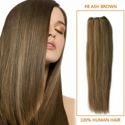 32 Inch #8 Ash Brown Straight Brazilian Virgin Hair Wefts