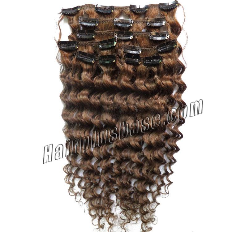 32 Inch #8 Ash Brown Unusual Clip In Hair Extensions Curly 7 Pieces no 1
