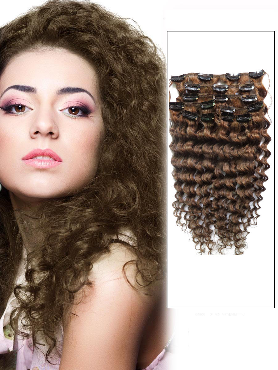 32 Inch 8 Ash Brown Unusual Clip In Hair Extensions Curly 7 Pieces