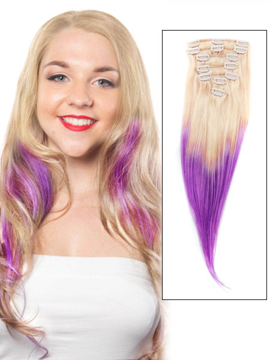 32 Inch Bleach Blonde And Purple Ombre Clip In Hair Extensions Two