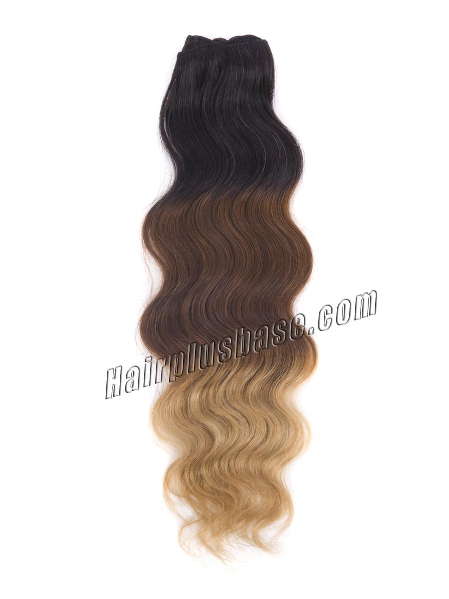 32 Inch Blonde-Brown-Black Ombre Clip In Indian Remy Human Hair Extensions Body Wave 9pcs no 1