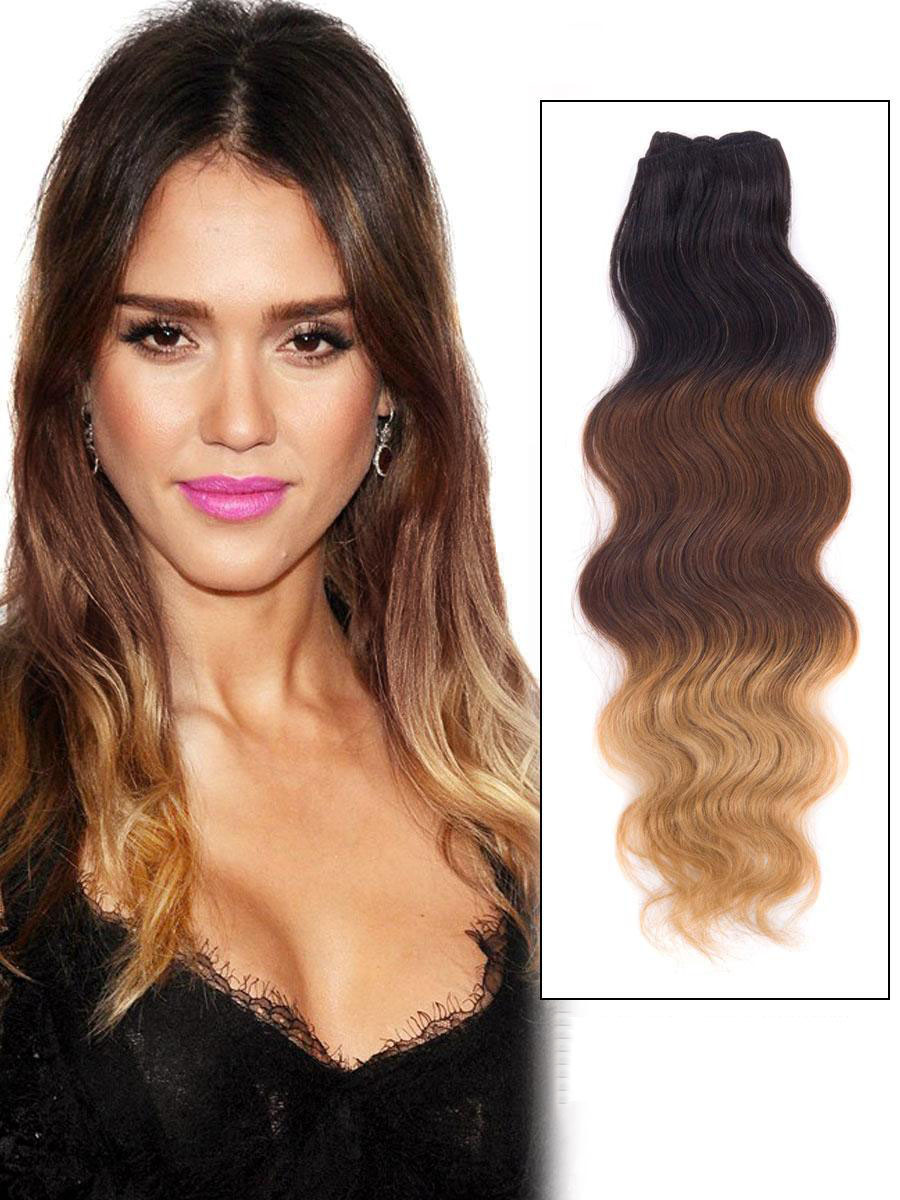 32 Inch Blonde Brown Black Ombre Clip In Indian Remy Human Hair