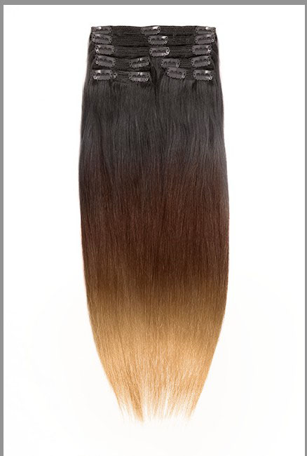 32 Inch Bright Ombre Clip In Indian Remy Hair Extensions Straight 9pcs no 1