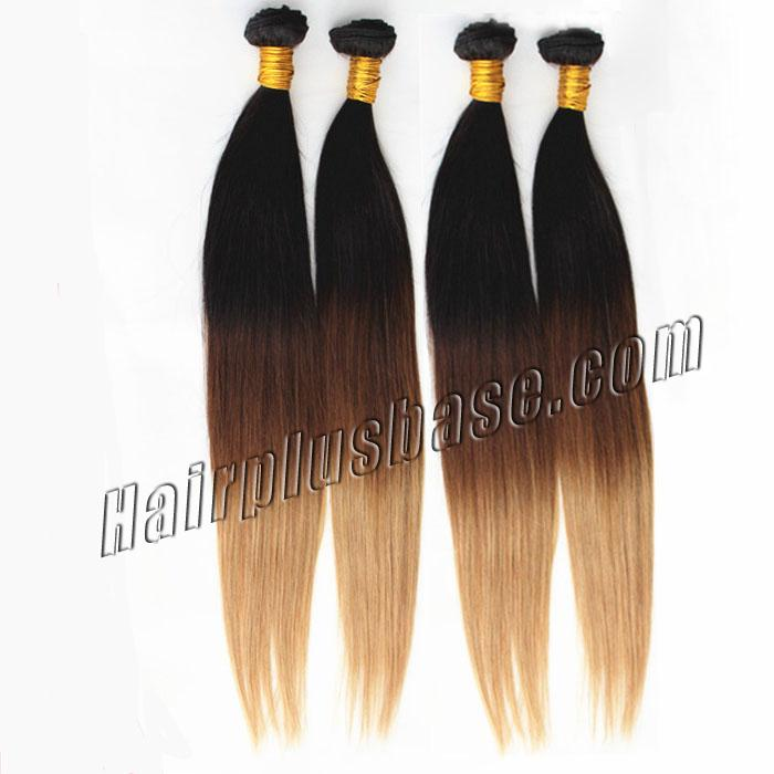 32 Inch Bright Ombre Clip In Indian Remy Hair Extensions Straight 9pcs no 2