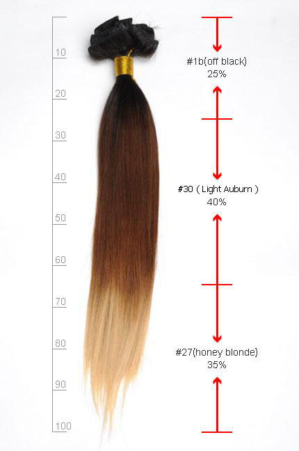 32 Inch Bright Ombre Clip In Indian Remy Hair Extensions Straight 9pcs no 3