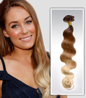 32 Inch Characteristic Two Colors Ombre Clip In Remy Hair Extensions Body Wave 9pcs
