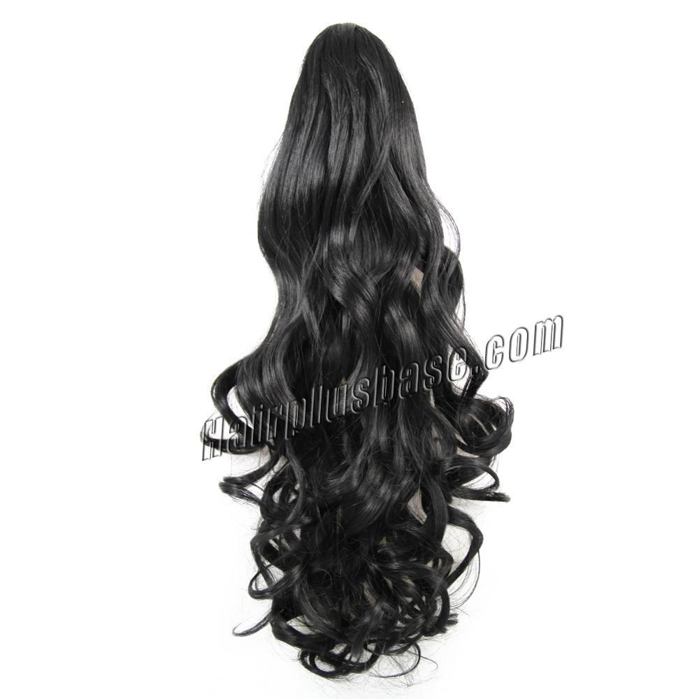 32 Inch Claw Clip Human Hair Ponytail Curly Exotic #1 Jet Black no 1