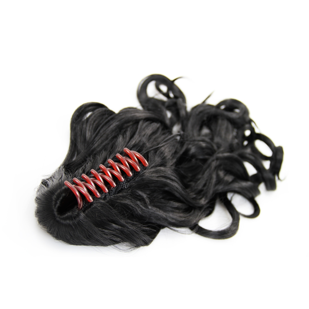 32 Inch Claw Clip Human Hair Ponytail Curly Exotic #1 Jet Black