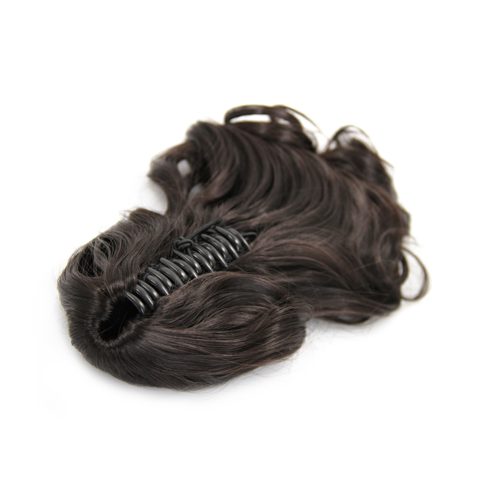 32 Inch Claw Clip Human Hair Ponytail Curly Glossy #2 Dark Brown
