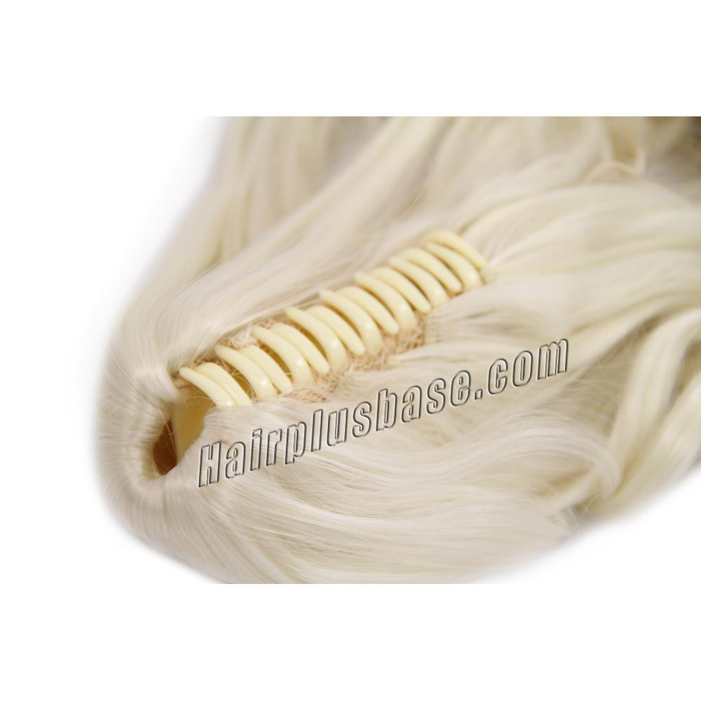 32 Inch Claw Clip Human Hair Ponytail Curly Pure #60 White Blonde no 2