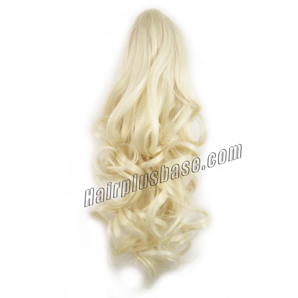 32 Inch Claw Clip Human Hair Ponytail Curly Pure #60 White Blonde no 3