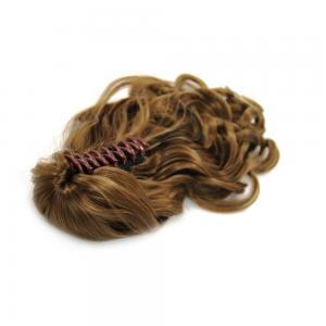 32 Inch Claw Clip Human Hair Ponytail Curly Shining #8 Ash Brown