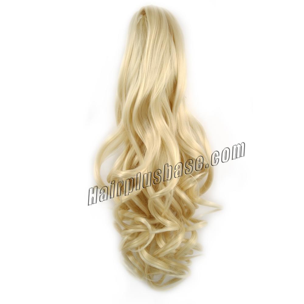 32 Inch Claw Clip Human Hair Ponytail Pretty Curly #613 Bleach Blonde no 1