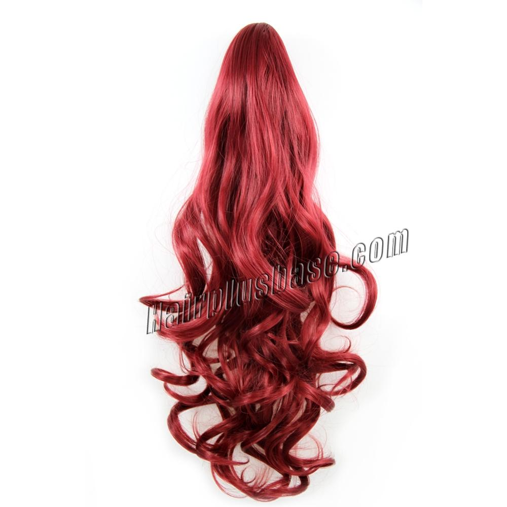 32 Inch Claw Clip Human Hair Ponytail Stylish Curly Red no 1