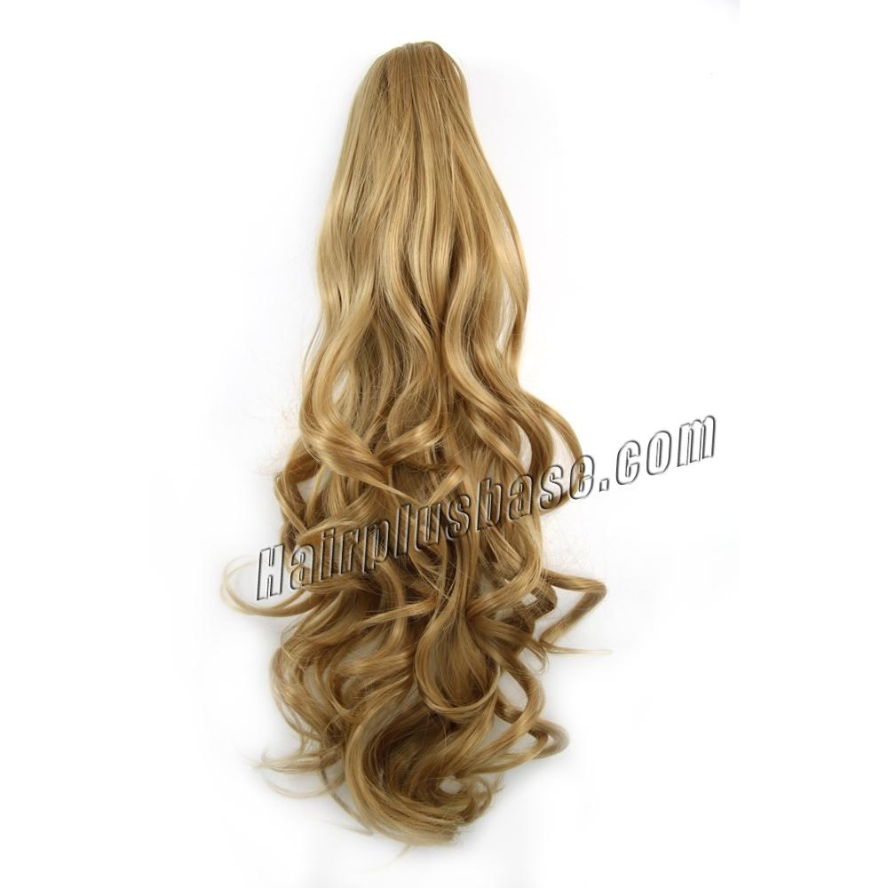 32 Inch Claw Clip Smooth Human Hair Ponytail Curly #27 Strawberry Blonde no 1