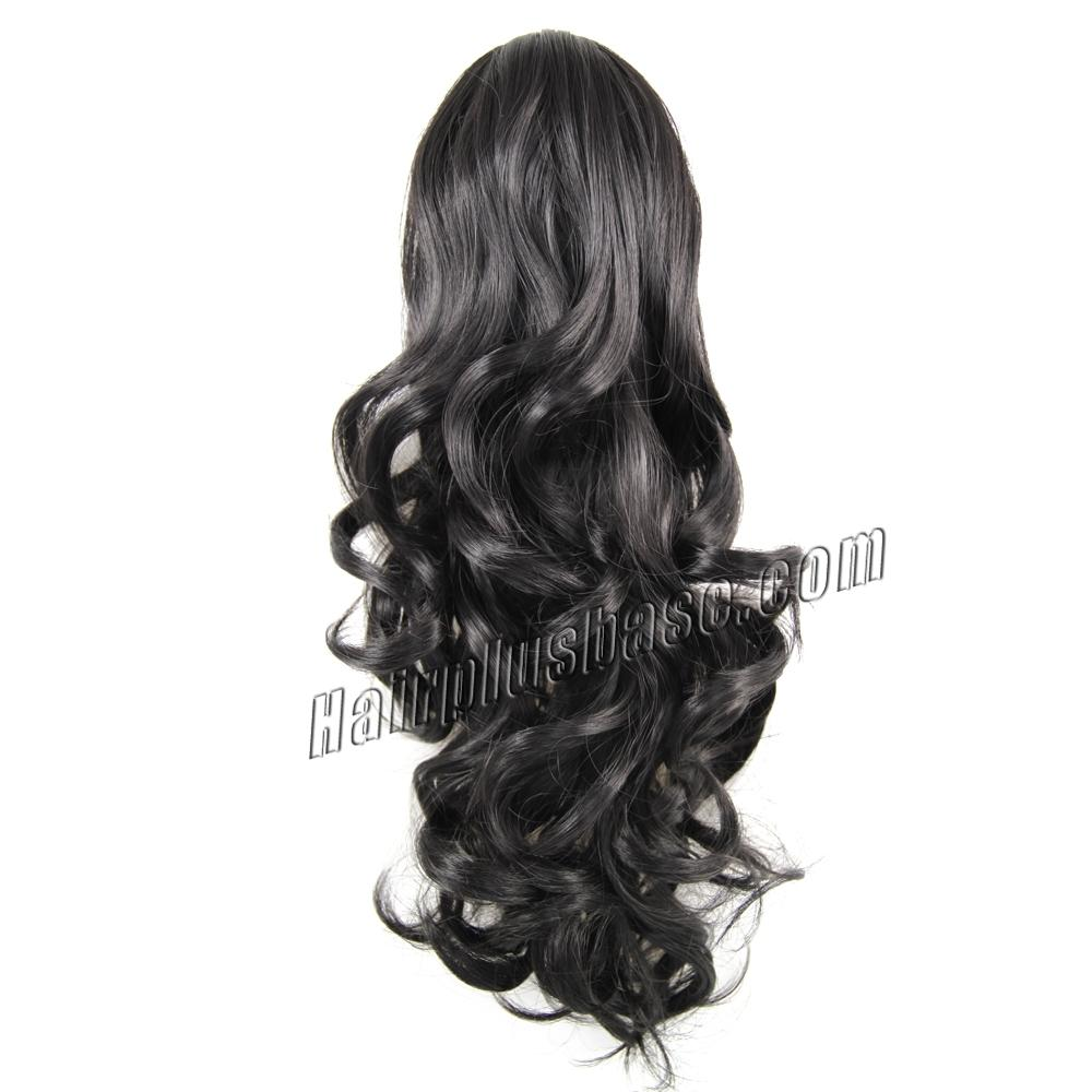 32 Inch Claw Clip Supple Human Hair Ponytail Curly #1B Natural Black no 1