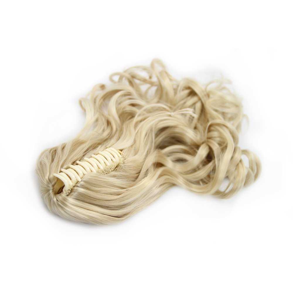 32 Inch Convenient Claw Clip Human Hair Ponytail Curly #24 Ash Blonde