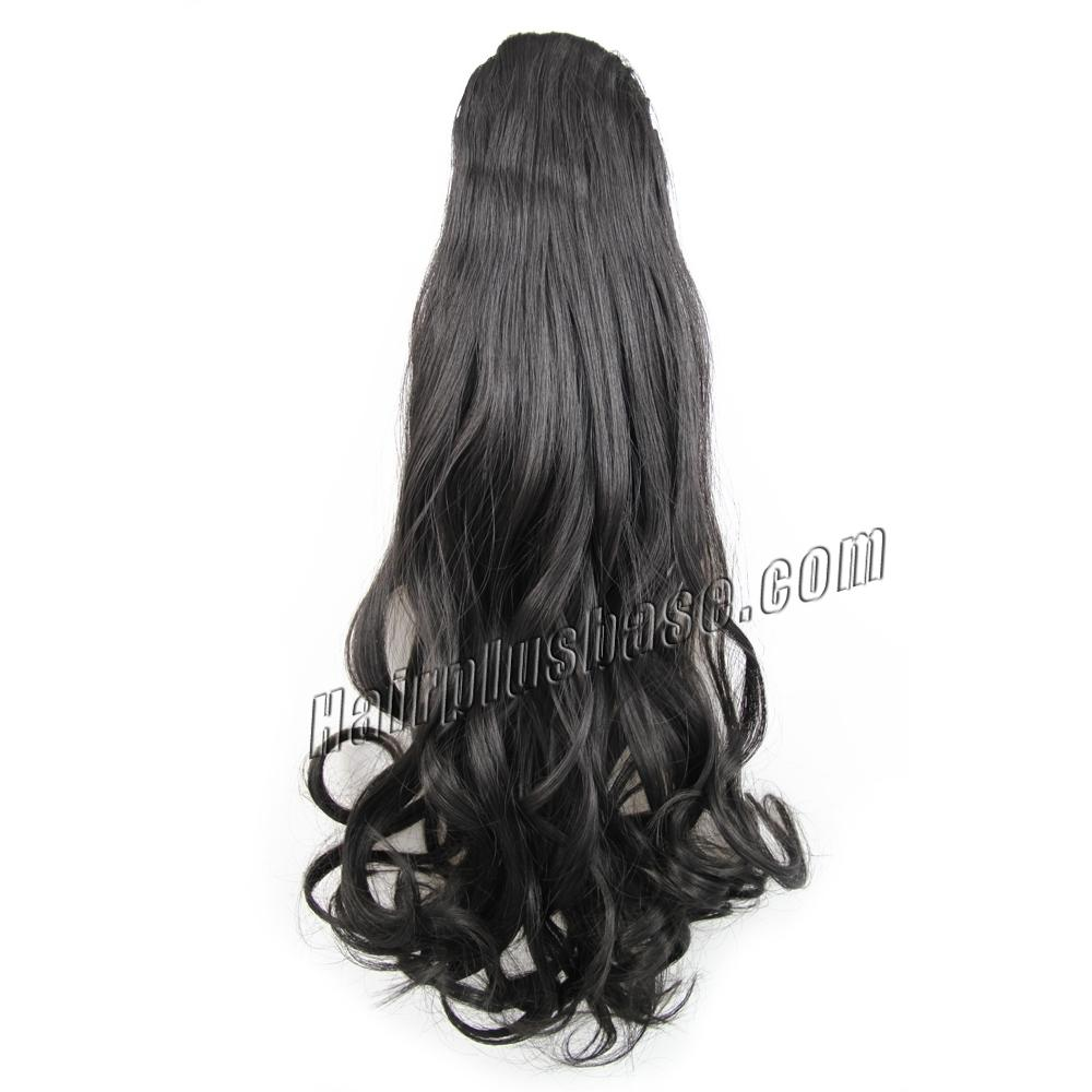 32 Inch Covert Drawstring Human Hair Ponytail Curly #1B Natural Black no 1