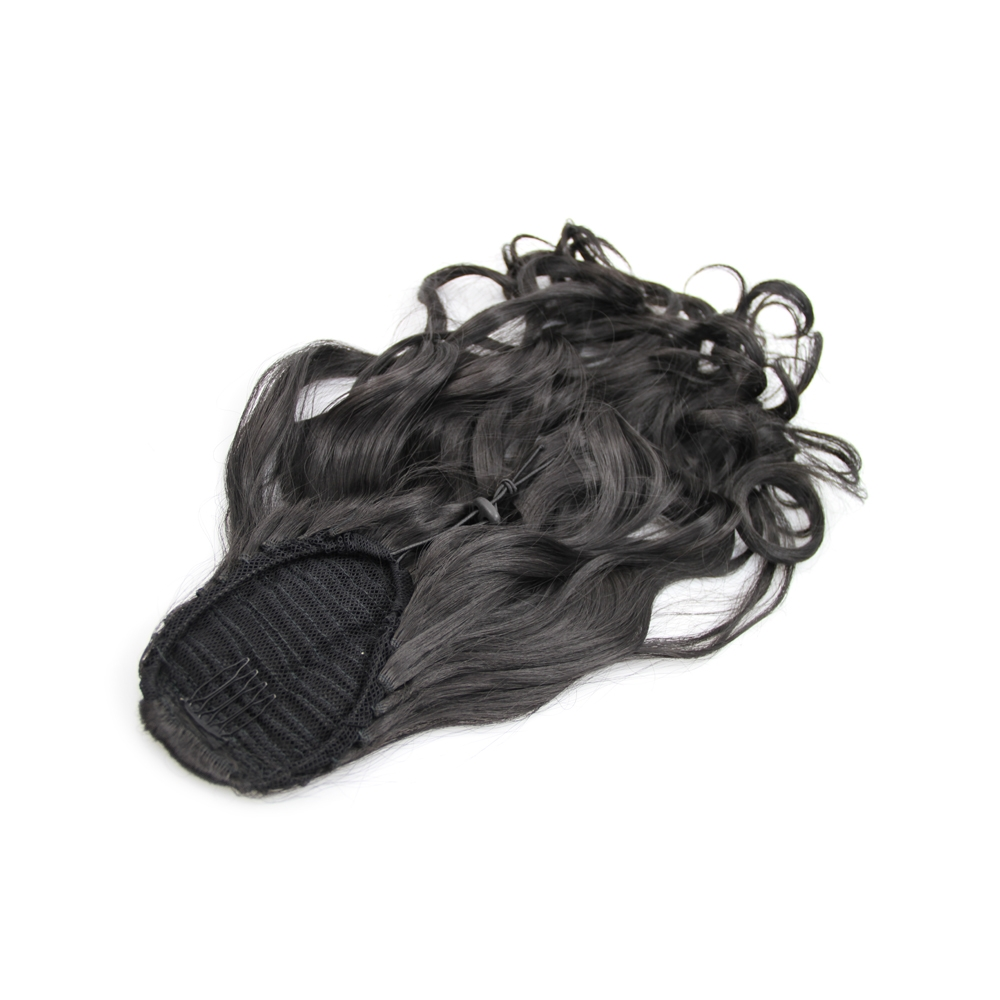 32 Inch Covert Drawstring Human Hair Ponytail Curly #1B Natural Black