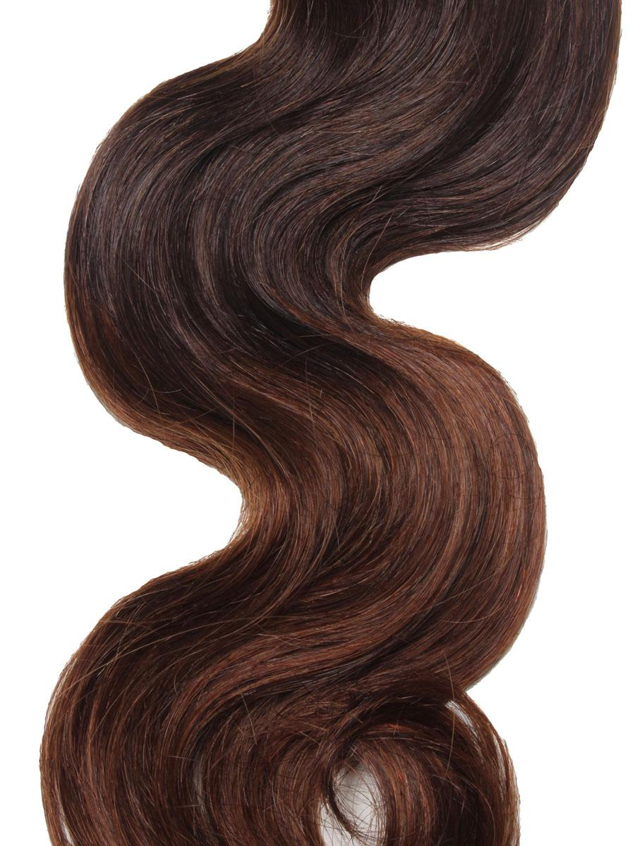 32 Inch Delicate Ombre Clip In Hair Extensions Three Tone Body Wave 9 Pieces no 5