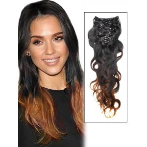 32 Inch Delicate Ombre Clip In Hair Extensions Three Tone Body Wave 9 Pieces