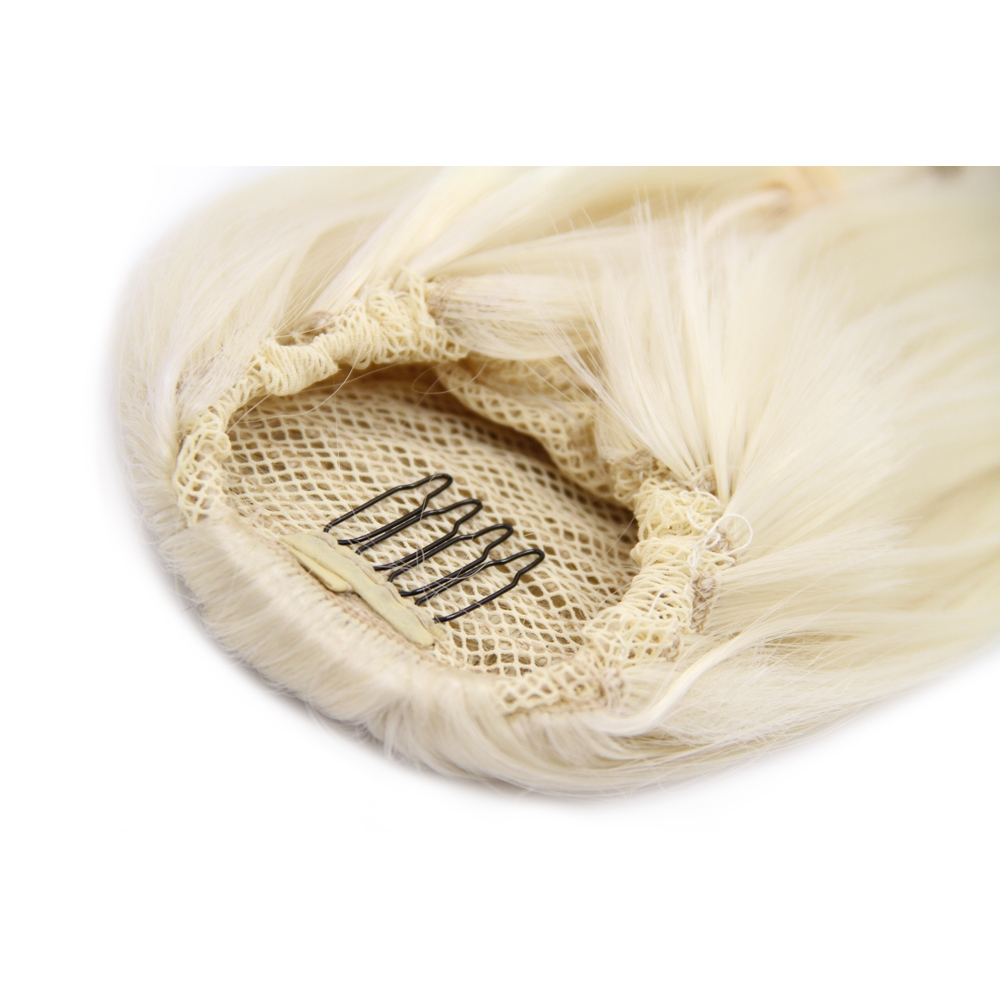 32 Inch Drawstring Human Hair Ponytail Beautiful Straight #60 White Blonde no 1