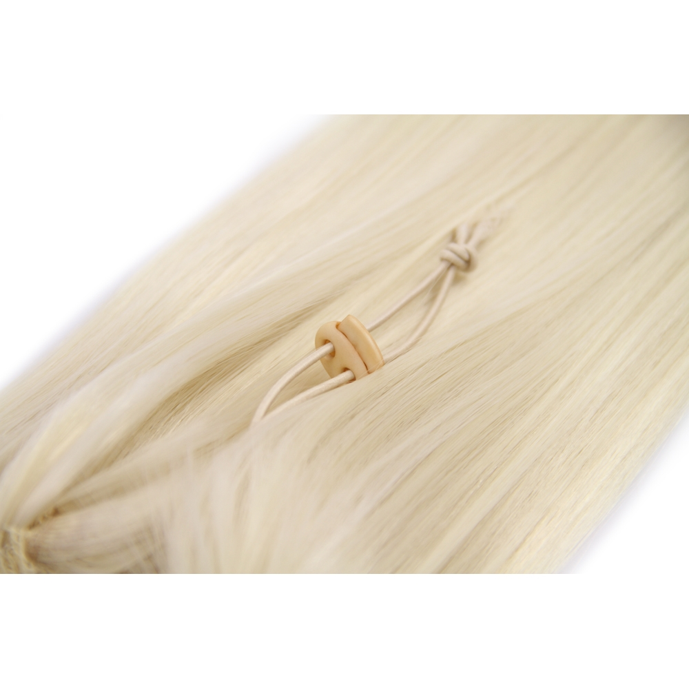 32 Inch Drawstring Human Hair Ponytail Beautiful Straight #60 White Blonde no 2