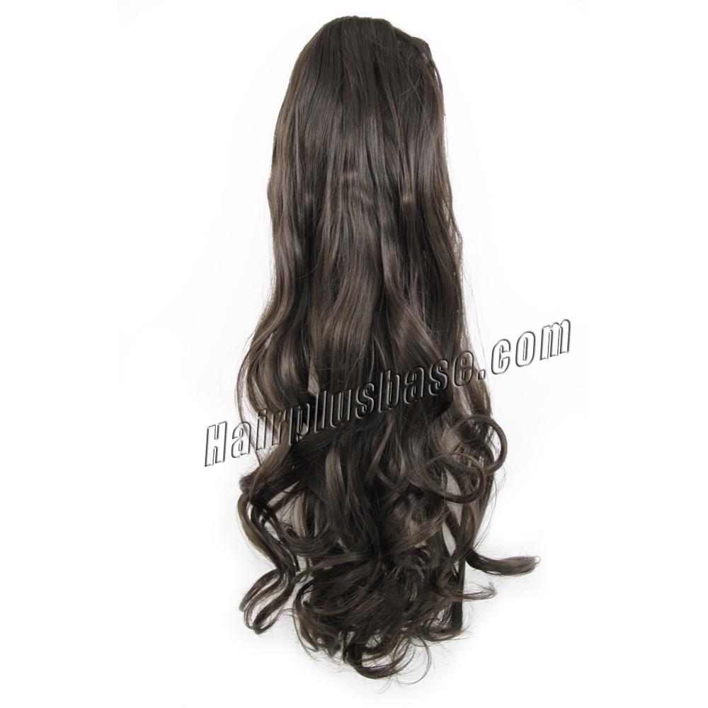 32 Inch Drawstring Human Hair Ponytail Casual Curly #2 Dark Brown no 1