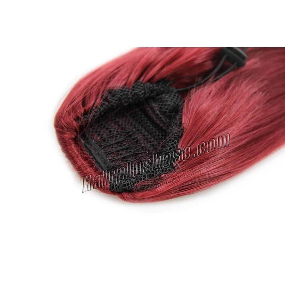 32 Inch Drawstring Human Hair Ponytail Special Straight Red no 1