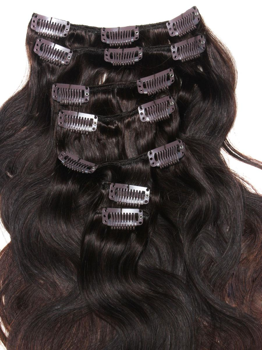 32 Inch Elaborate Ombre Clip In Hair Extensions Three Tone Body Wave 9 Pieces no 2