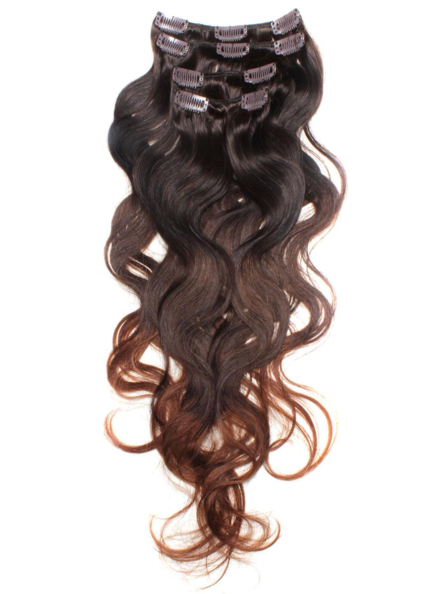 32 Inch Elaborate Ombre Clip In Hair Extensions Three Tone Body Wave 9 Pieces no 3